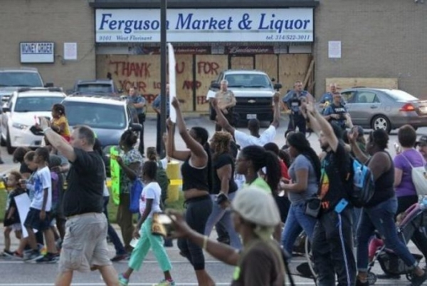 Protestors March in Ferguson, MO