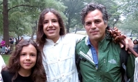 Itzcuauhtli, Xiuhtezcatl and Mark Ruffalo at the People's Climate March.