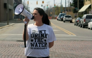 A Flint, Michigan, resident demanding clean water